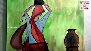 Color Painting by Village Carrying Water Pot How To Water Color Painting