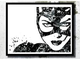 watercolor art print catwoman poster cat illustration marvel