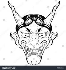 outline japanese demon mask hand drawn stock vector 709991407