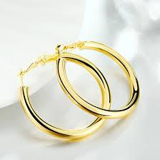 trendy gold earrings wholesale trendy 24k gold plated hoop earrings for women he055