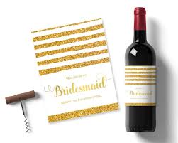 will you be my of honor gift will you be my bridesmaid gift gold glitter wine label