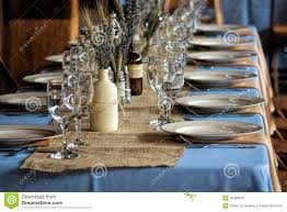 country wedding guest table and serving sets stock photo image