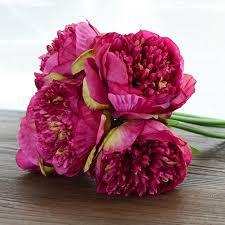 Flower Home Decor by 5 Heads Bridal Hydrangea Wedding Garden Artificial Peony Silk