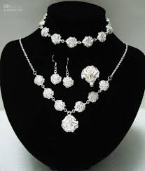 sterling silver necklace set images 2018 fashion 925 sterling silver rose jewelry set 925 necklace set jpg