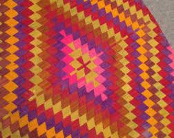 Colorful Aztec Rug Natural Wool Rug Etsy