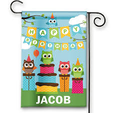 Happy Birthday Flags Hooty Owls Happy Birthday Personalized Party Banner Garden Flag