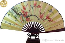 held folding fans decorative large bamboo silk held folding fans style