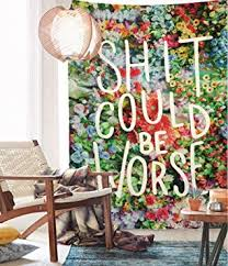Wallpapers Home Decor Amazon Com Floral Words Wall Tapestry Fabric Wallpaper Bedspreads
