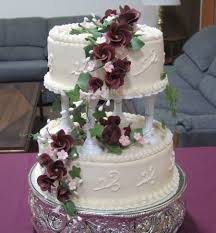 two tier burgundy wedding cake cakecentral com