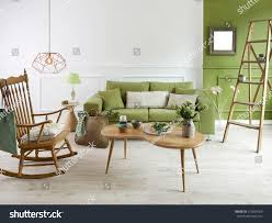 Drawing Room Wood Furniture Natural Wood Furniture Green Wall Decor Stock Photo 515964769