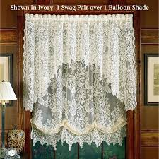 Balloon Shade Curtains Lace Balloon Curtains White Lace Swag Curtains Home Wisteria