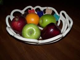 white woven pottery bowl fruit bowl bread baker cat lovers gift