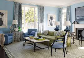 blue and brown living room interior design