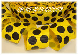 black and yellow ribbon oh my gosh goodies ribbon polka dot ribbon jumbo dot ribbon