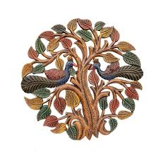 decorative embossed wooden tree with peacock design for your home