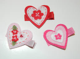 felt hair accessories set of 3 felt heart hair children s apparel