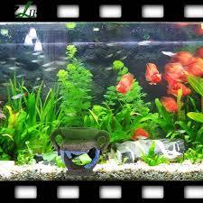 aquarium decorations resin vase with moss aquarium ornaments fish tank background