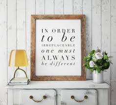 be irreplaceable coco chanel quote high fashion wall art home be irreplaceable coco chanel quote high fashion wall art home decor chanel artwork chanel wall art quote wall art typography