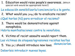 a level spanish racism conditional tense by adj26 teaching