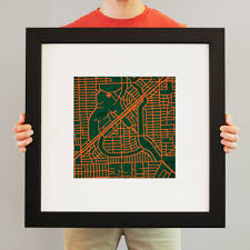 University Of Miami Map University Of Miami Campus Map Art City Prints