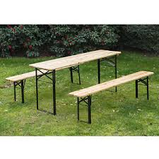 Collapsible Picnic Table 3pcs Wooden Beer Table Bench Set Patio Folding Picnic Table Chair