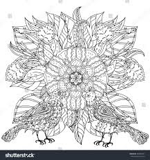 contoured mandala shaped flowers birds stock vector