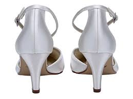 Wedding Shoes Rainbow Rainbow Club Harper Mid Heel Wedding Shoes Ivory Satin Ankle Strap