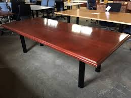 8ft wood veneer conference table dark cherry t9616c conklin