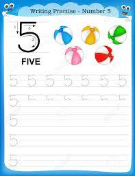 writing practice number five printable worksheet for preschool