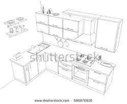 pencil sketch modern corner kitchen freehand stock illustration