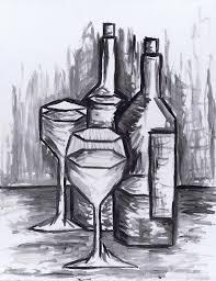 sketch still life with wine painting by kamil swiatek