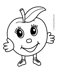 apple character fruits coloring pages simple kids printable