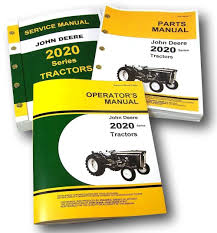 amazon com set john deere 2020 tractor service parts owner manual
