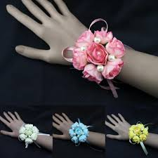 cheap corsages pink ivory blue yellow girl bridesmaid wedding prom wrist corsage
