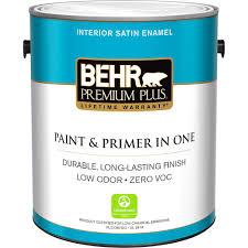 interior paint home depot behr premium plus 1 gal ultra white satin enamel zero voc