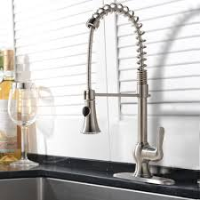 single handle kitchen sink faucet with pull spray