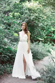 informal wedding dress ivory v neck sleeveless a line slit informal wedding dress