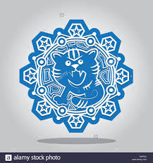 Invitation Card For New Year Snowflake With A Contour Of The Tiger On The Chinese Zodiac Signs