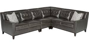 living room furniture decor reina point gray leather 4 pc sectional