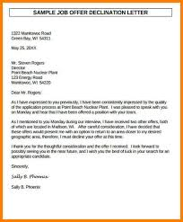 Decline Letter Template Sle Offer Rejection Letter