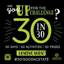 30 things in 30 days challenge asi associated students inc