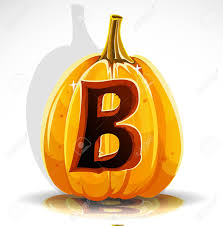 happy halloween font cut out pumpkin letter b royalty free