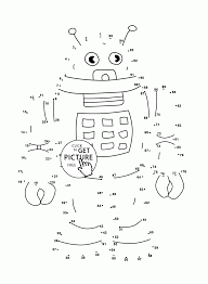 robot connect the dots coloring pages for kids dot to dots