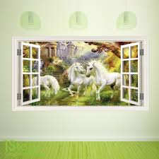 unicorn wall stickers wall art kids fairy tale unicorn window wall sticker