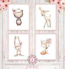 4 deer fox bunny rabbit bear nursery printable print wall art