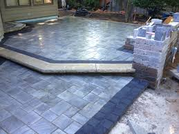 Composite Patio Pavers by Beautiful Patio Using Unilock Brick Pavers Stonehenge Coping