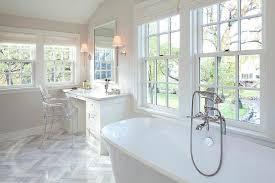 See Through Bathroom Gray Bathroom With Blue Linen Roman Shades Transitional Bathroom