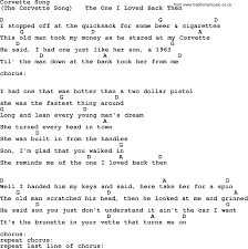 corvette chords corvette song by george jones counrty song lyrics and chords