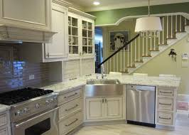 Marvelous Apron Front Sink In Kitchen Traditional With Load - Kitchen with corner sink
