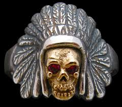 small indian head dress with skull ring and rubies sterling